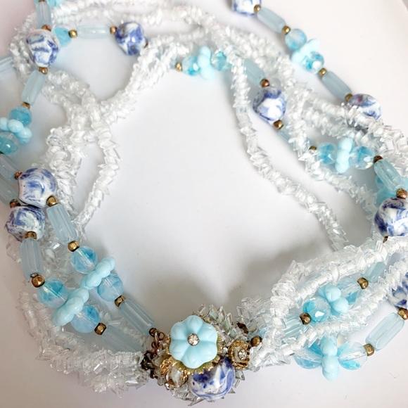 Hattie Carnegie glass bead crystal necklace 1950's
